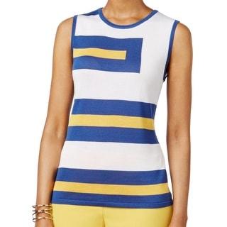 Anne Klein NEW Blue White Yellow Striped Medium M Tank Cami Top