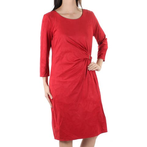 3ed335afea8f NY COLLECTION Womens Red Faux Suede 3/4 Sleeve Jewel Neck Knee Length Shift  Dress