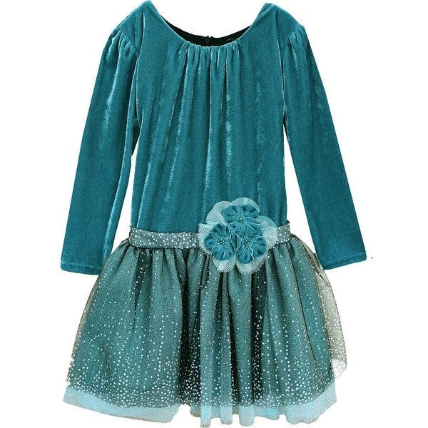 df734e30aae4 Shop Isobella   Chloe Little Girls Teal Winter Sparkle Velvet ...