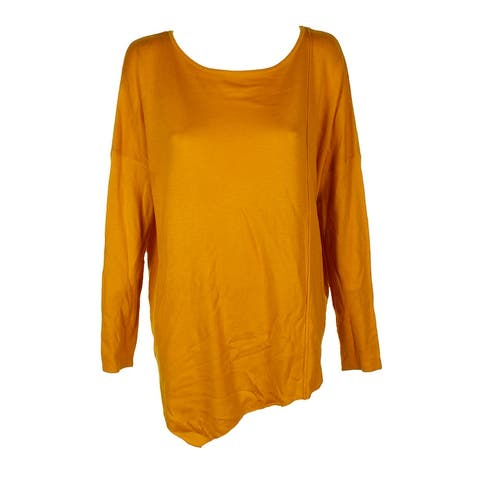 Inc International Concepts Polished Gold Asymmetrical Tunic Sweater L
