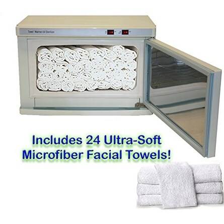 LCL Beauty Hot Towel Cabinet/UV Sterilizer with 24 Ultra-Soft Facial Towels