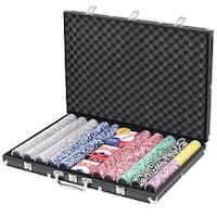Gymax 1000 Chips Poker Chip Set 11.5 Gram Holdem Cards Game with Black Aluminum Case