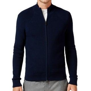 Michael Kors NEW Blue Mens Size XL Ribbed Mock Neck Full Zip Sweater