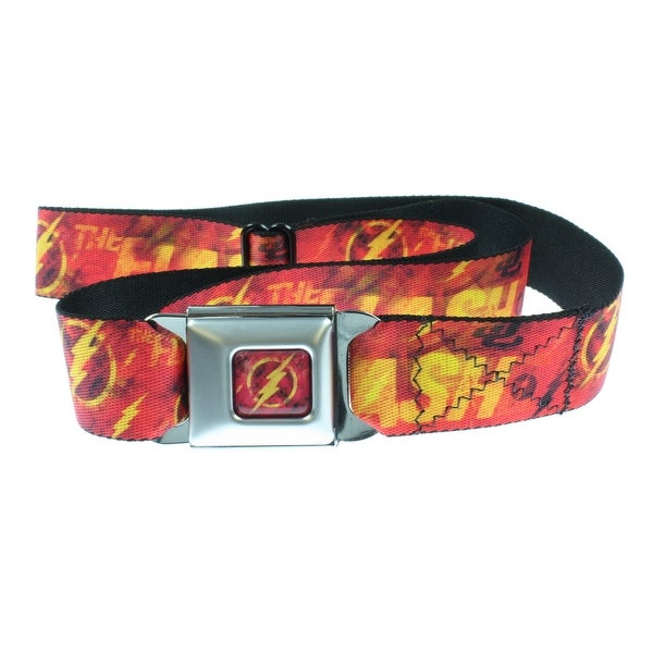 The Flash Scattered Distressed Logo Seatbelt Belt-Holds Pants Up