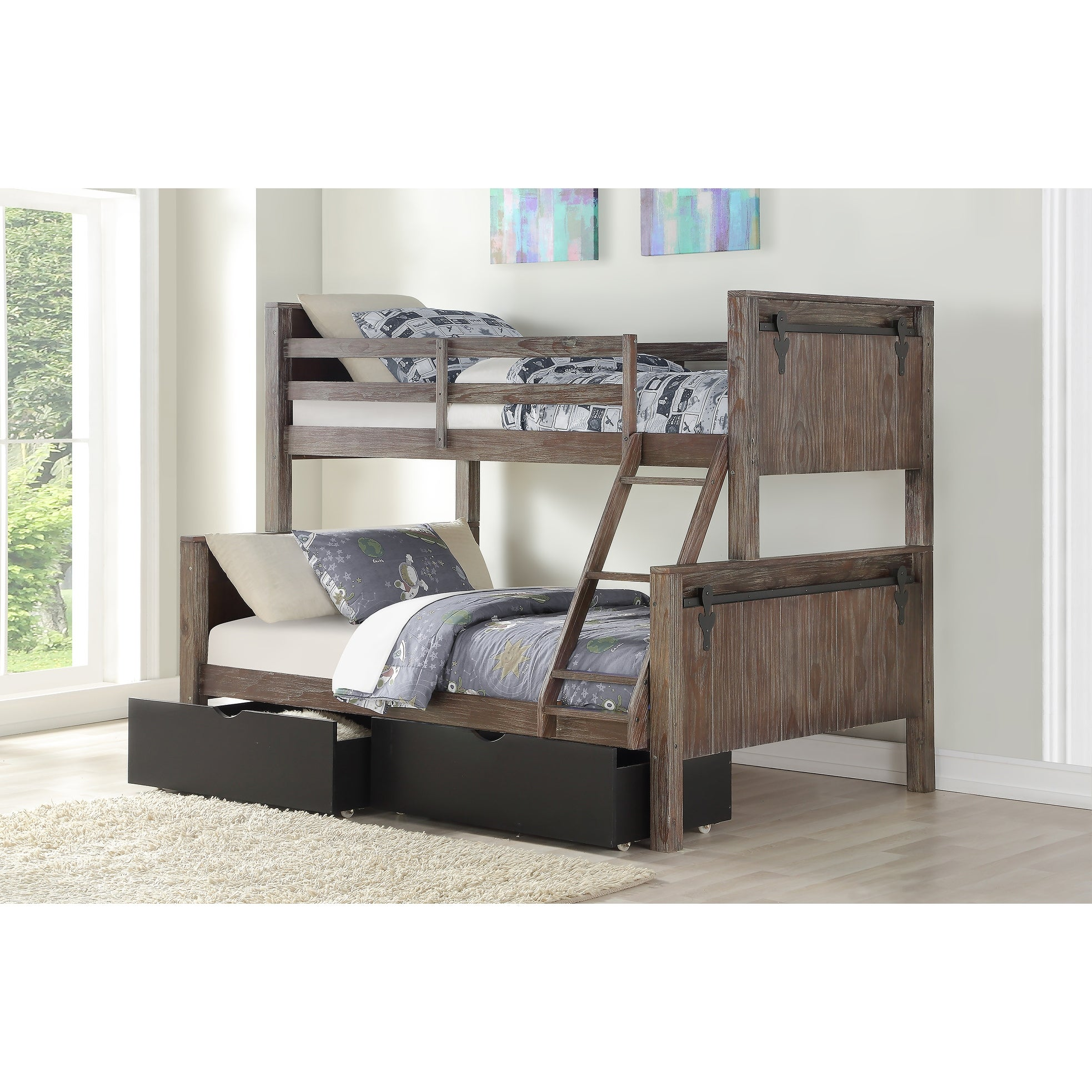 Picture of: Twin Over Full Barn Door Bunk Bed In Brushed Shadow With Storage Drawers In Low Sheen Black Overstock 28520687