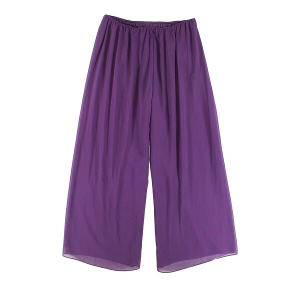 6a08fca61c6 Shop Alex Evenings Purple Womens Size 2X Plus Chiffon Wide-Leg Pants - Free  Shipping On Orders Over  45 - Overstock.com - 21933472