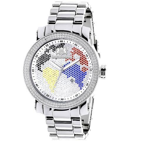 Luxurman Men's 'World Map' Oversized Diamond Watch 0.12ctw