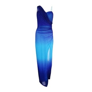 Onyx Nite Women's Glittered Ombre Chiffon Gown - ROYAL