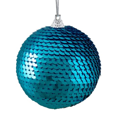 """Turquoise Blue Sequin Shatterproof Ball Christmas Ornament 3"""""""