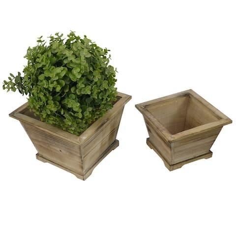ABN5E140-NTRL Contemporary Liner Square Wood Pot Planter, Set of 2