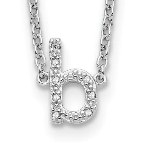Sterling Silver Polished Diamond Initial b with 2-inch Extension Necklace by Versil