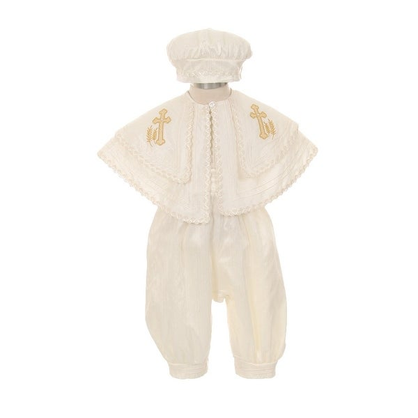 26a14457a8ff Shop Rain Kids Baby Boys Ivory Silk Cross Cape Hat Baptism Romper ...