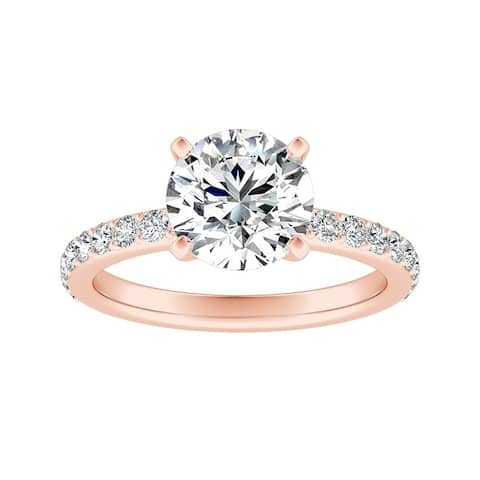 Auriya 14k Gold 2ctw Round Moissanite and Diamond Engagement Ring 1/3ct TDW