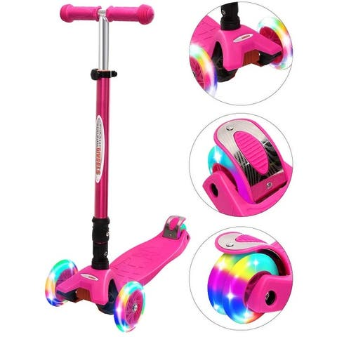 Buy Wonder Products Mega 3-Wheel Foldable Scooter With Lightup Wheels & Extendable T-Bar For 3-12 Years Pink