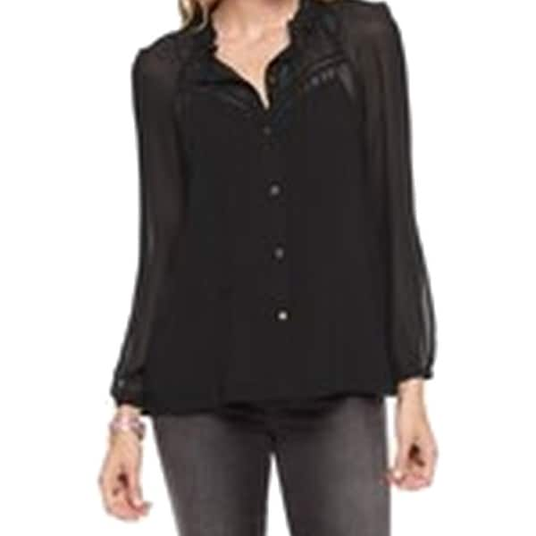 Guess NEW Black Chiffon Women's Size Large L Illusion Button Down Shirt