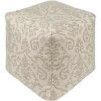 "18"" Green and Beige Floral Decorative Square Outdoor Patio Pouf Ottoman"