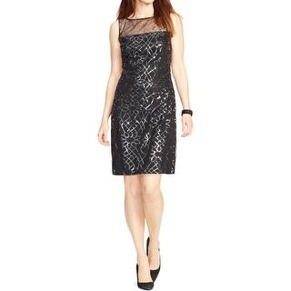 American Living Womens Semi-Formal Dress Illusion Yoke Sequined