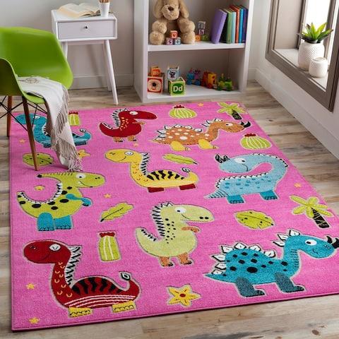 Jennah Poppy Pink Dinosaur Area Rug