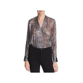 Elie Tahari Womens Shelly Bodysuit Silk Metallic