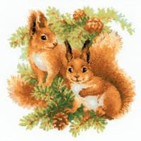 "Squirrels Counted Cross Stitch Kit-9.75""X9.75"" 14 Count"