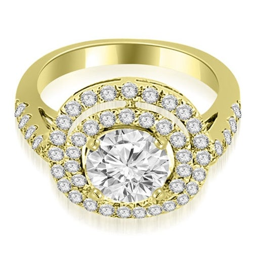 1.10 cttw. 14K Yellow Gold Double Halo Round Cut Diamond Engagement Ring