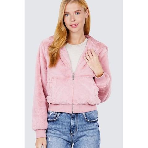 Cali Chic Women's Jacket Hoodie Celebrity Faux Zip Up Hoodie Jacket Pink