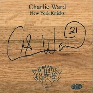 Charlie Ward signed New York Knicks Floor Board 6x6