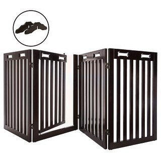Arf Pets Free Standing Wood Dog Gate with Walk Through Door, Adjustable