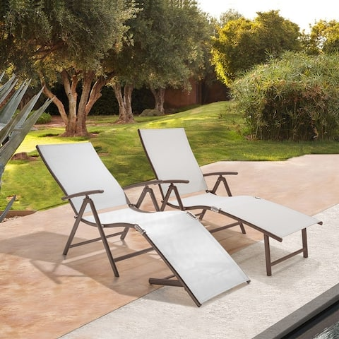 """Outdoor Aluminum Folding Recliner Adjustable Chaise Lounge (Set of 2) - 24"""" W x 45"""" D x 37"""" H"""