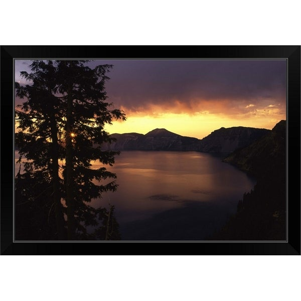 """""""Sunrise view from Discovery Point over Crater Lake, Crater Lake National Park, Oregon"""" Black Framed Print"""