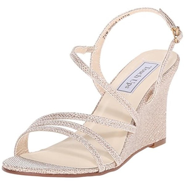 Touch Ups Womens Paige Evening Sandals Glitter Wedge