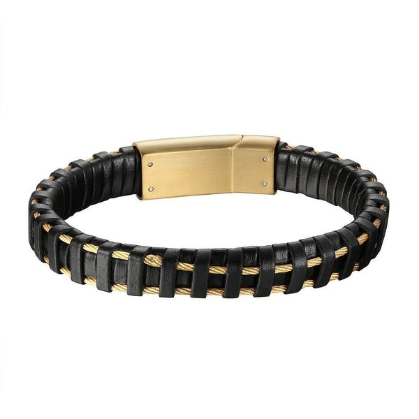 Cable Coil Wire Design Black Leather Gold Tone Over Stainless Steel Wristband