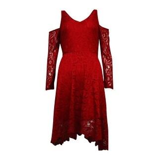 American Rag Women's Lace Cold-Shoulder Handkerchief Dress