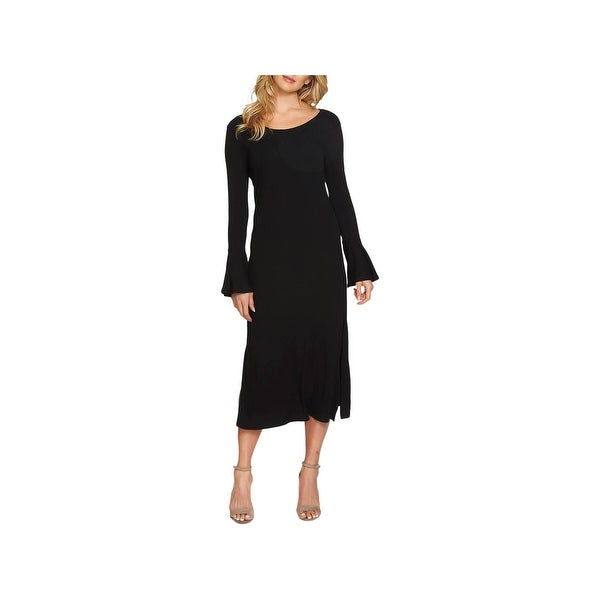 1.State Womens Party Dress Ribbed Bell Sleeves