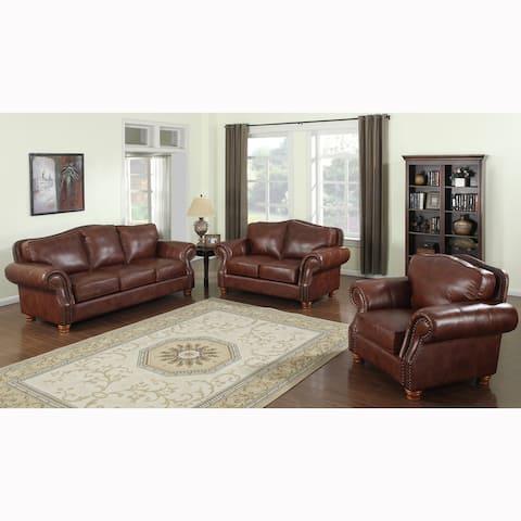 Brandon Distressed Whiskey Italian Leather Sofa Set