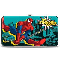 Ultimate Spider Man Spider Man Swinging Poses Thwip + Spider Logo Skyline Hinge Wallet - One Size Fits most
