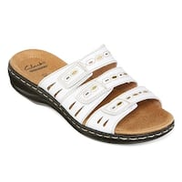 CLARKS Womens Leisa Broach Leather Open Toe Casual Slide Sandals