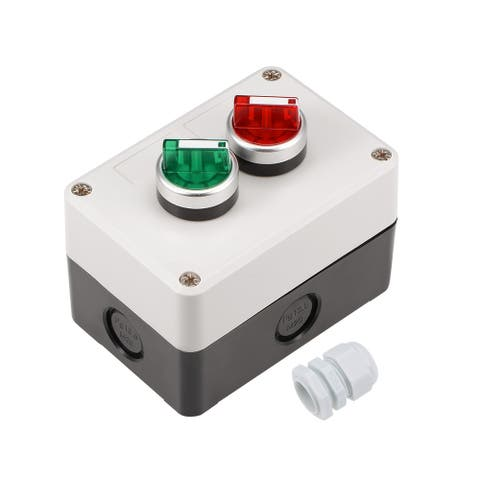 Push Button Switch Station Box 2-Position Latching Rotary Selector - Blanco negro