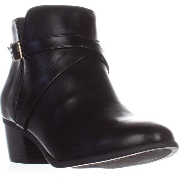 KS35 Falonn Block-Heel Ankle Boots, Black