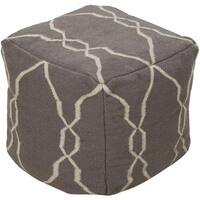 "18"" Charcoal Gray and Ivory Static Circles Square Wool Pouf Ottoman"