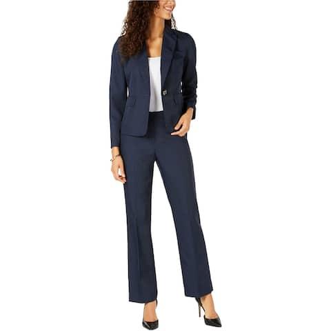 Le Suit Womens Pinstripe One Button Blazer Jacket