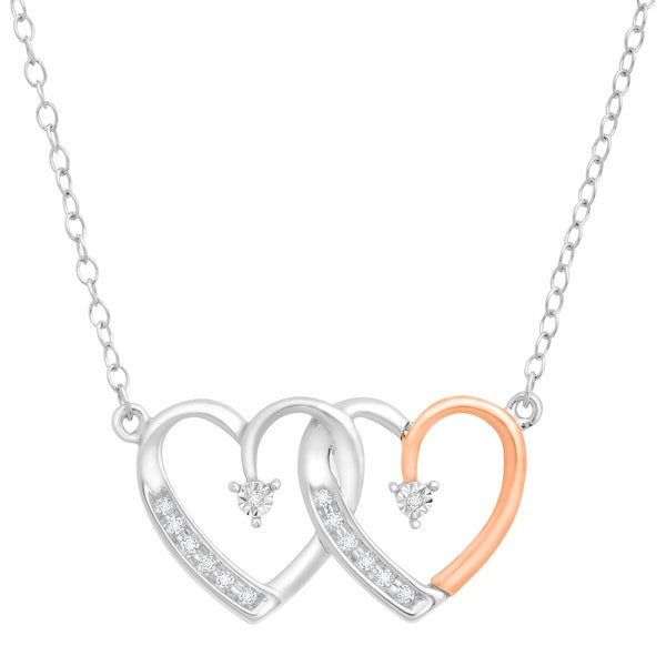 Double Heart Necklace with Diamonds in Sterling Silver & 14K Rose Gold