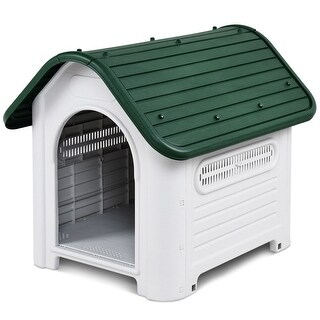 Gymax Plastic Pet Dog House Puppy Shelter Roof Skylight Waterproof Indoor Outdoor
