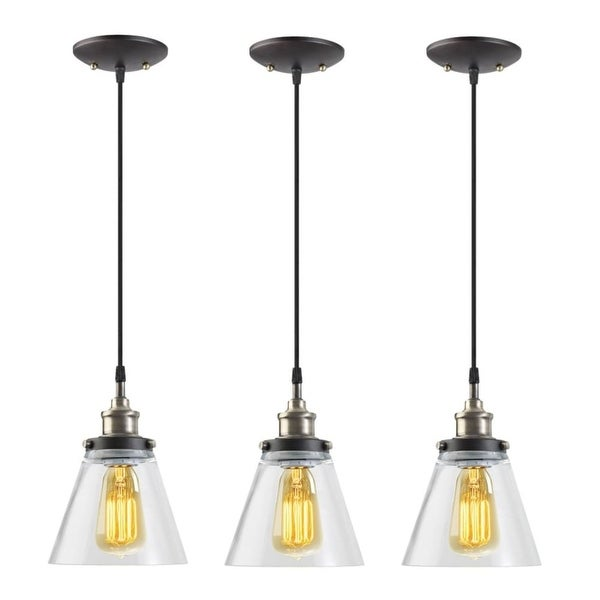 "Globe Electric 65207 Jackson Vintage 1-Light 65"" Adjustable Pendant with Clear Glass Shade - Pack of 3 - Black"