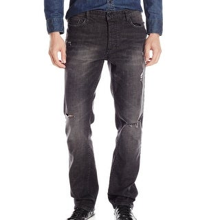 Calvin Klein NEW Black 33X32 Slim Fit Destructed Straight Leg Jeans