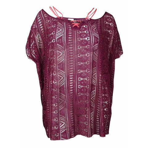 Becca by Rebecca Virtue Women's Laced Up Tunic Cover Up (OS, Marsala) - Marsala - OS