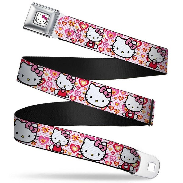 Hello Kitty Face W Pink Bow Full Color White Hello Kitty Valentine's Day 1 Seatbelt Belt