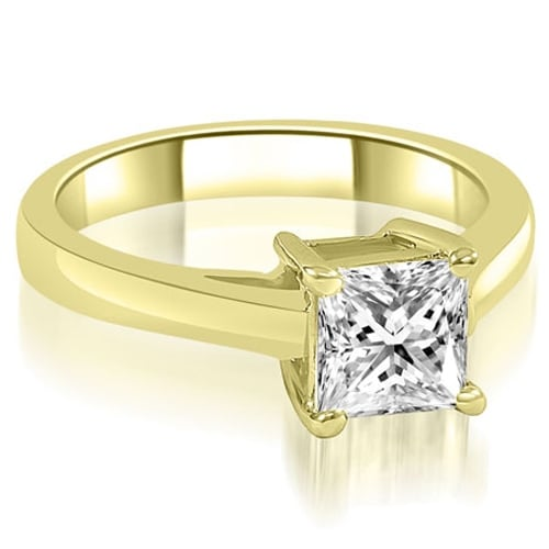 0.75 cttw. 14K Yellow Gold Cathedral Princess Solitaire Diamond Engagement Ring