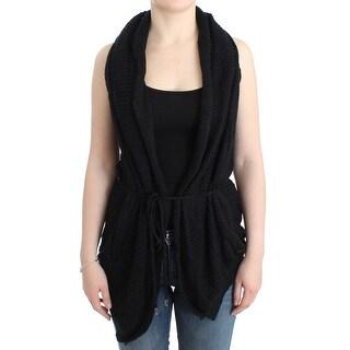 Costume National Black sleeveless knitted cardigan