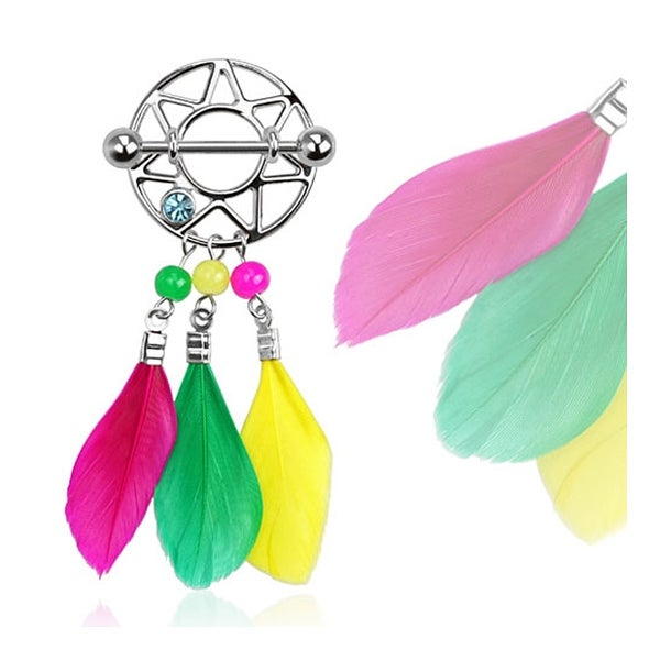 Dream Catcher with Colorful Feathers Nipple Shield 316L Surgical Steel (Sold Individually)